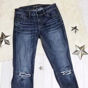 WHBM The Skimmer Skinny jeans dark distressed 2